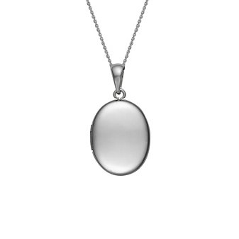 14K White Gold Plain Oval Locket Pendant