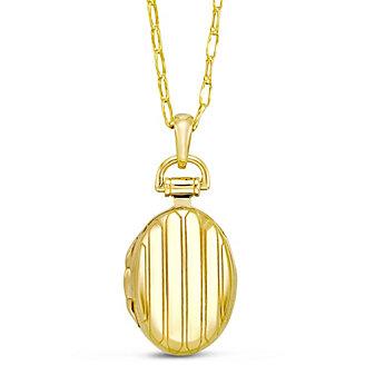 Monica Rich Kosann 18K Yellow Gold Petite Pinstripe Locket