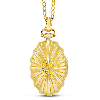 Monica Rich Kosann 18K Yellow Gold Oval Starburst Locket
