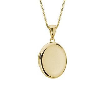 14K Yellow Gold Plain Oval Locket