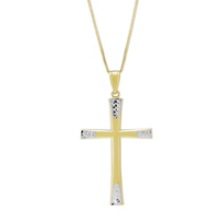 14K_Yellow_&_White_Gold_Cross_Pendant