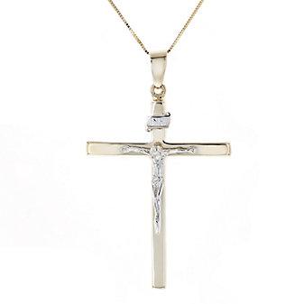 14k yellow & white gold crucifix pendant