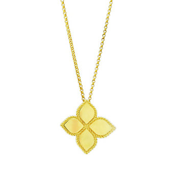 Roberto Coin 18K Yellow Gold Large Flower Princess India Pendant with Chain
