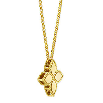 18K Yellow Gold Medium Princess Flower Pendant, 18""
