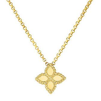 "roberto coin 18k yellow gold princess flower pendant, 18"""