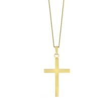 "14K_Yellow_Gold_Polished_Cross_Pendant,_16-18"""