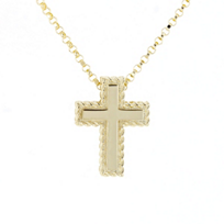 roberto_coin_18k_yellow_gold_small_cross_pendant_with_patterned_edge,_18""