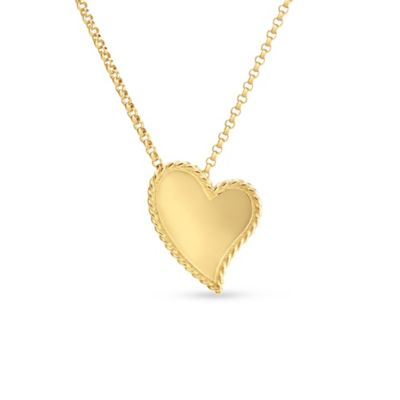 roberto coin 18k yellow gold heart pendant with twisted edge, 18""