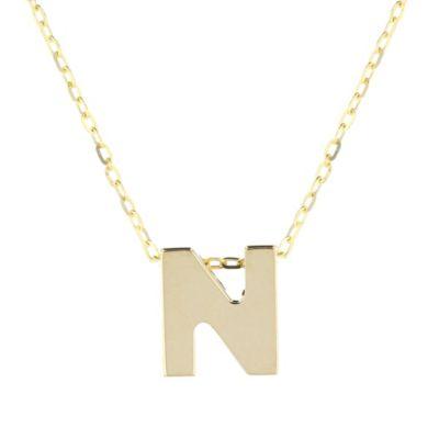 """14k yellow gold n initial pendant, 18"""""""