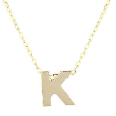 """14k yellow gold k initial pendant, 18"""""""