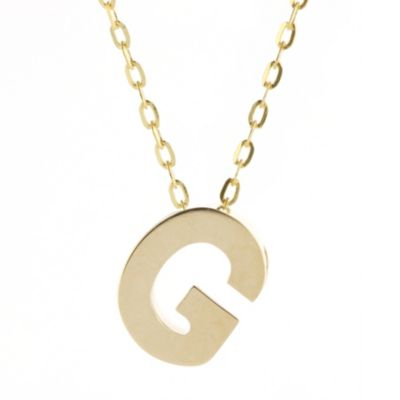 14k yellow gold g initial pendant, 18""