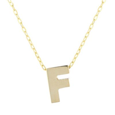 14k yellow gold f initial pendant, 18""