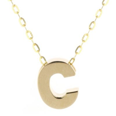 "14k yellow gold c initial pendant, 18"""