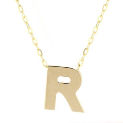 14k yellow gold r initial pendant, 18""