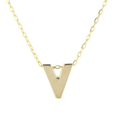 14k yellow gold v initial pendant, 18""