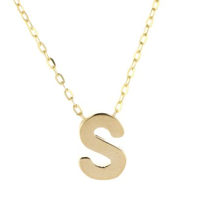 14k yellow gold s initial pendant, 18""