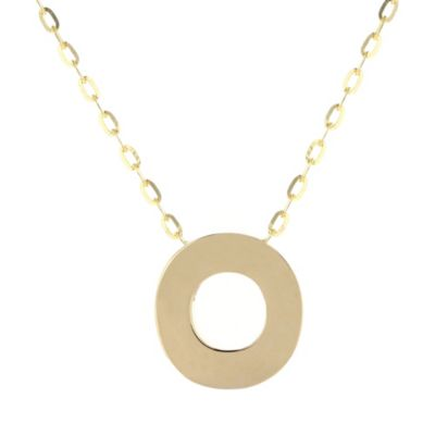 14k yellow gold o initial pendant, 18""