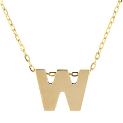 14k yellow gold w initial pendant, 18""