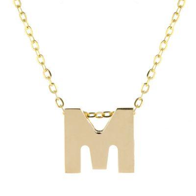 "14k yellow gold m initial pendant, 18"""