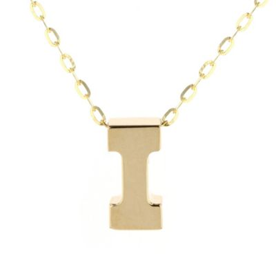 14k yellow gold i initial pendant, 18""
