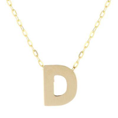 "14k yellow gold d initial pendant, 18"""