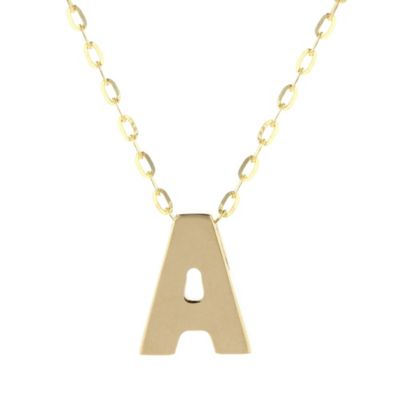 14k yellow gold a initial pendant, 18""