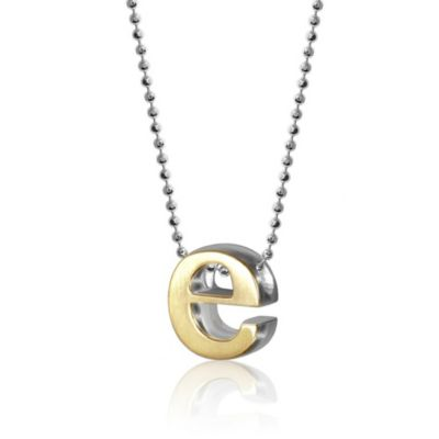 alex woo 18k yellow gold & sterling silver little fusion letter e pendant, 18""