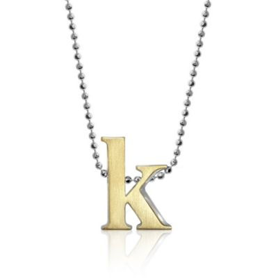 alex woo 18k yellow gold & sterling silver little fusion letter k pendant, 18""
