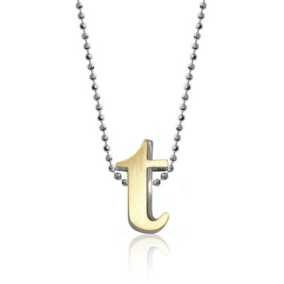 alex woo 18k yellow gold & sterling silver little fusion letter t pendant, 18""