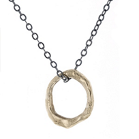 """robin_haley_14k_yellow_gold_eternity_open_circle_pendant_with_oxidized_sterling_silver_chain,_36"""""""