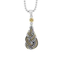 "lagos_sterling_silver_&_18k_yellow_gold_torsade_caviar_knot_drop_pendant,_36"""