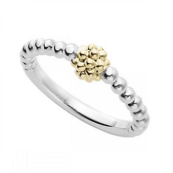 Lagos Sterling Silver and 18K Yellow Gold Caviar Ball Stack Ring, Size 7