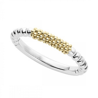 Lagos Sterling Silver and 18K Yellow Gold Caviar Bar Stack Ring, Size 7