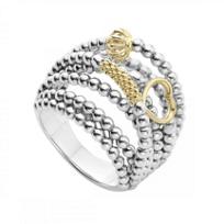 Lagos_Sterling_Silver_and_18K_Yellow_Gold_Caviar_Icon_9-Strand_Statement_Ring,_Size_7