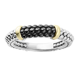 Lagos Sterling Silver and 18K Yellow Gold Black Ceramic Caviar Tapered Stacking Ring