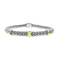 Lagos_Sterling_Silver_&_18K_Yellow_Gold_Signature_Caviar_Petite_X_Bracelet
