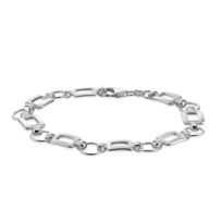 Sterling_Silver_Circle_and_Rectangle_Link_Bracelet,_7.5""