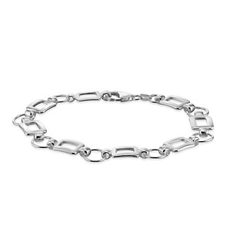 """Sterling Silver Circle and Rectangle Link Bracelet, 7.5"""""""