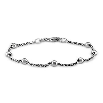Sterling Silver Bead and Wheat Chain Bracelet