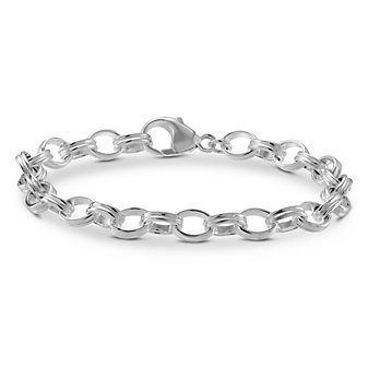 Sterling Silver Ribbed Cable Link Bracelet, 7 1/2""