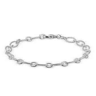 """Sterling Silver Figaro Twist Link Bracelet, 7 1/2"""""""