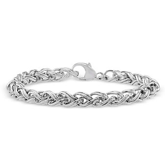 Sterling Silver Ridged Wheat Bracelet, 8""