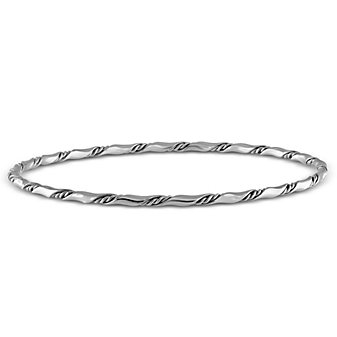 Sterling Silver Twisted Bangle, 3mm