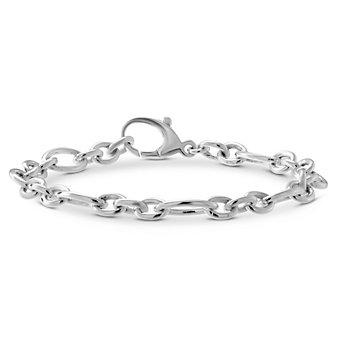 """Sterling Silver Oval Link Figaro Baroque Link Bracelet, 7 1/4"""""""
