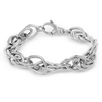 "Sterling_Silver_Marquise_Link_Bracelet,_7_1/2"""