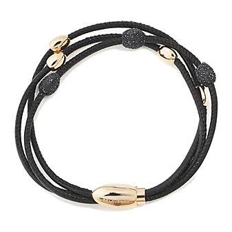 Pesavento Polvere di Sogni Pink Sterling Silver Polished & Black Dust Bead Stations Bracelet