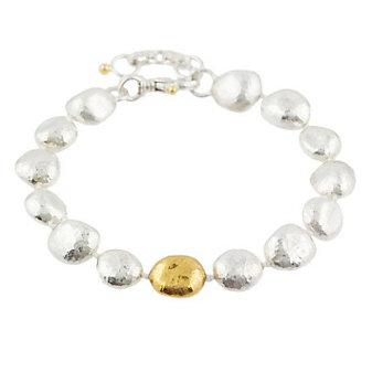 "Gurhan Sterling Silver & Yellow Tone Spell Nugget Bracelet, 8"""