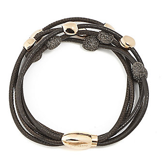 Pesavento Sterling Silver & Rose Tone Brown Dust Sparkle Bead Leather Bracelet