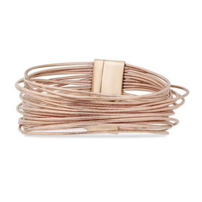 Pesavento Rose Tone Sterling Silver DNA Spring Wire Thick Bracelet