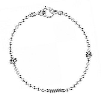 Lagos Sterling Silver Caviar Icon 3 Station 2.5mm Ball Chain Bracelet